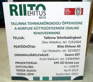 Rakennuskyltti Bip levystä Riito Ehitus